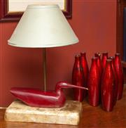 Sale 8625A - Lot 25 - A timber decoy duck style lamp, total height 50cm, and a quantity of eight red papier mâché bottles.