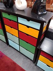 Sale 8676 - Lot 1100 - Timber Chest of Ten Multi-Coloured Drawers