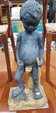Sale 8930 - Lot 1026 - Vintage Australian Concrete Statue of a Boy and Turtle - Reg Des 46639