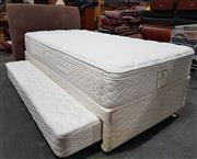 Sale 8971 - Lot 1016 - A King Single Trundle Bed, in three parts, with a Corduroy Upholstered Bed Head (H:112 x L:205 x W:110cm)