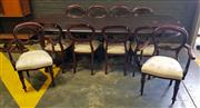 Sale 9051 - Lot 1025 - Good Reproduction Mahogany 11 Piece Dining Setting incl. Extension Table and 8 Chairs incl. 2 Carvers (Table - h:78 x w:274 x d:130cm)