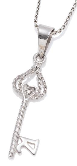 Sale 9160 - Lot 320 - A 9CT WHITE GOLD PENDANT NECKLACE; scroll chain attached with a key pendant set with a small round brilliant cut diamond and ridges...