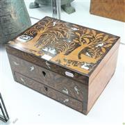 Sale 8304 - Lot 37 - Timber Inlaid Jewellery Box (With 2 Keys)