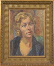 Sale 8316 - Lot 589 - Douglas Dundas (1900 - 1981) - Portrait of Hilary 41 x 31cm