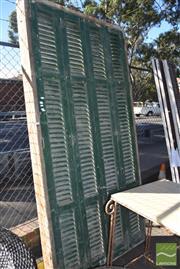 Sale 8390 - Lot 1348 - Large Door Frame with Glass Doors & Shutters
