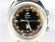 Sale 8402W - Lot 92 - VINTAGE ENICAR SHERPA SUPER DIVE 600 AUTOMATIC WRISTWATCH; two tone orange and black dial with crown set outer rotating 60 minute tr...