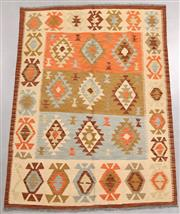 Sale 8438K - Lot 36 - Summer Afghan Tribal Kilim Rug | 200x147cm, Pure Wool, Finely handwoven in Northern Afghanistan using high quality local wool. Vibra...