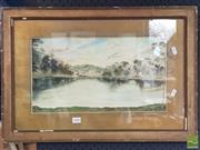 Sale 8478 - Lot 2080 - H.O. Curlinf, Bush Camp, Watercolour, SLR, 23.5x42.5cm