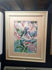 Sale 8650 - Lot 2025 - Richard Coen - Oriental Lillies watercolour, 73 x 63cm (frame). -