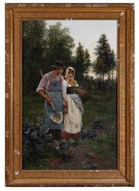 Sale 8934H - Lot 33 - George Richard Falkenberg,  (b.1850 German) The Cabbage Patch, oil on canvas, 137cm x 88cm, signed lower right, in an ornate gilt fr...