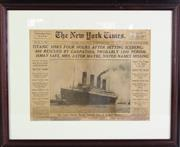 Sale 8953 - Lot 2077 - The New York Times, April 16 1912 - Titanic Sinks, framed Print