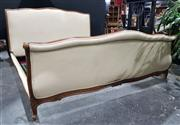Sale 8971 - Lot 1058 - A French Style King Size Bed Frame, with carved timber & linen upholstery, purchased at the House of Manor Mosman (H:112 x L:203 x 1...