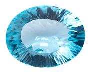 Sale 8982 - Lot 357 - AN UNSET 28.46CT BLUE TOPAZ; oval millennium cut, 22.39 x 17.71 x 9.82mm.