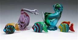 Sale 9110 - Lot 22 - Collection of art glass animals incl. dog, duck (chips to base) & fish (Dog - H:13cm)