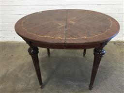 Sale 9157 - Lot 1055 - Oval dining table with timber inlay and ormolu mounts - 129 (h44 x w120 x d102cm)