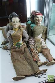 Sale 8285 - Lot 61 - Thai Set of 2 Timber Puppets