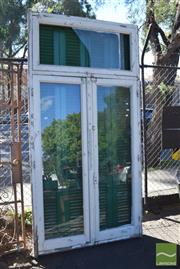 Sale 8390 - Lot 1350 - Pair of Timber Doors Frames with Glass & Shutters (239 x 120cm)