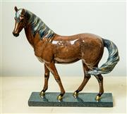 Sale 8420A - Lot 21 - A decorative mantel horse on stand, composition: resin, condition: new, measurements:  21cm long x 24cm high