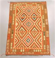 Sale 8438K - Lot 37 - Summer Afghan Tribal Kilim Rug | 209x150cm, Pure Wool, Finely handwoven in Northern Afghanistan using high quality local wool. Vibra...