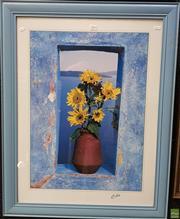 Sale 8587 - Lot 2096 - Cebo - Sunflowers and Vista, decorative print, frame size; 61.5 x 71cm