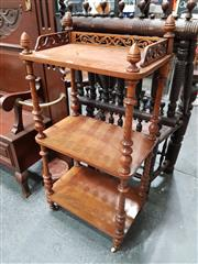 Sale 8848 - Lot 1004 - Victorian Figured Walnut Whatnot, of three tiers, with pierced gallery top & turned supports