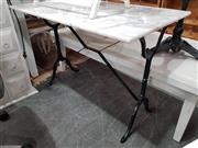 Sale 8912 - Lot 1083 - Rectangular White Marble Top Table on Cast Iron Base (H: 70 L: 100 W: 60cm)