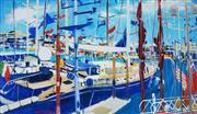 Sale 8947 - Lot 506 - Frank Hodgkinson (1919 - 2001) - Viaduct Basin, Americas Cup, 2000 54.5 x 95.5 cm (frame: 102 x 139 x 6 cm)