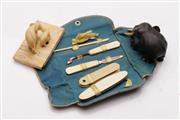 Sale 9052 - Lot 401 - Group of items incl. bone manicure set and elephants