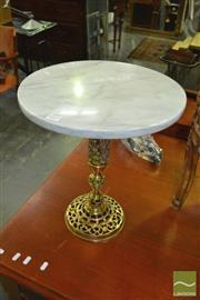 Sale 8386 - Lot 1019 - Marble Top Wine Table w Brass Base