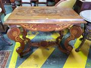 Sale 8598 - Lot 1047 - Baroque Style Marquetry Centre Table, the rectangular top with central floral panel, on cabriole legs joined by a stretcher (H:77 L:...