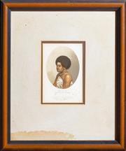Sale 8625A - Lot 28 - A Baxter print of Vah ta-ah, Fijian Princess, from a miniature by JD Macdonald of HMS Herald, in a timber frame, total frame size 30...
