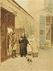 Sale 8696A - Lot 5039 - Charles Edouart Delort (1841- 1885) - Mauvais Accueil 52.5 x 40cm