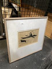 Sale 8891 - Lot 2046 - Henry Napartuk - Eskimo and Walrus linocut, 43 x 43cm (frame), signed