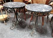 Sale 8925 - Lot 1080 - A pair of wrought iron and marble top occasional tables