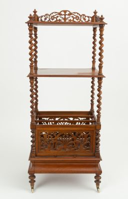 Sale 9150J - Lot 21 - An English antique walnut 3 tier Canterbury C: 1875. The 2 upper shelves on barley twist supports, the base with 3 compartments abov...