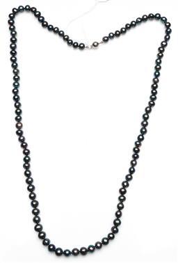 Sale 9246 - Lot 61 - A black pearl opera length necklace (L:80cm)