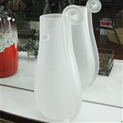 Sale 8304 - Lot 57 - Frosted Glass Vase with Applied Floral Stem
