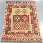 Sale 8438K - Lot 39 - Summer Afghan Tribal Kilim Rug | 202x150cm, Pure Wool, Finely handwoven in Northern Afghanistan using high quality local wool. Vibra...