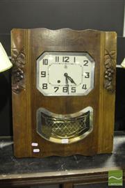 Sale 8499 - Lot 1013 - Wall Mount Art Deco Clock with Pendulum