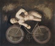 Sale 8526 - Lot 539 - Helene Grove (1946 - ) - Untitled, 2003 (Figure and Bicycle) 111 x 130.5cm