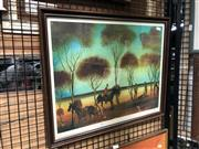 Sale 8819 - Lot 2109 - Pro Hart The Cattle Dogs Death signed decorative print