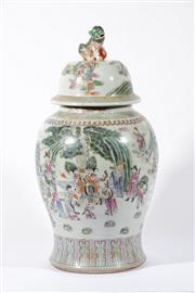 Sale 9003C - Lot 603 - Modern famille rose lidded vase featuring figures to mid section H:60cm