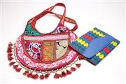 Sale 9057 - Lot 59 - Indian Fabric Shoulder Bag Together With African Fabric Clutch