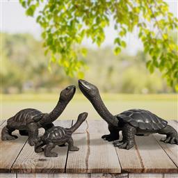 Sale 9174JM - Lot 5035 - GILLE AND MARC Long Neck Turtle Family bronze sculpture, editions of 100 largest: 20 x 35 x 20 cm; medium: 18 x 30 x 15 cm, smallest...