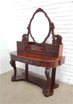 Sale 9142 - Lot 1093 - Victorian Burr Walnut Dressing Table, with six trinket drawers and hinged compartment, above a frieze drawer & cabriole legs, restin...