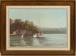 Sale 9155H - Lot 81 - J. Vander, oil on board dipicting boats, signed lower right in a gilt frame 39.5x59.5cm
