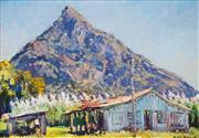 Sale 8526 - Lot 594 - David Badcock (1960 - ) - Hut and View of Mountain 44 x 64cm
