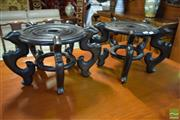 Sale 8542 - Lot 1072 - Pair of Rosewood Jardiniere Stands
