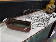 Sale 8629 - Lot 1003 - Copper Pan and Metal Basket