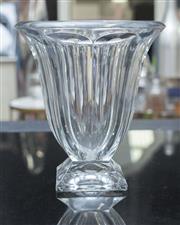 Sale 8709 - Lot 1070 - A bohemian flared form crystal vase on square base, H x 26cm